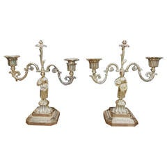 Pair of French Brass Figural and Floral Candlesticks, Circa 1770