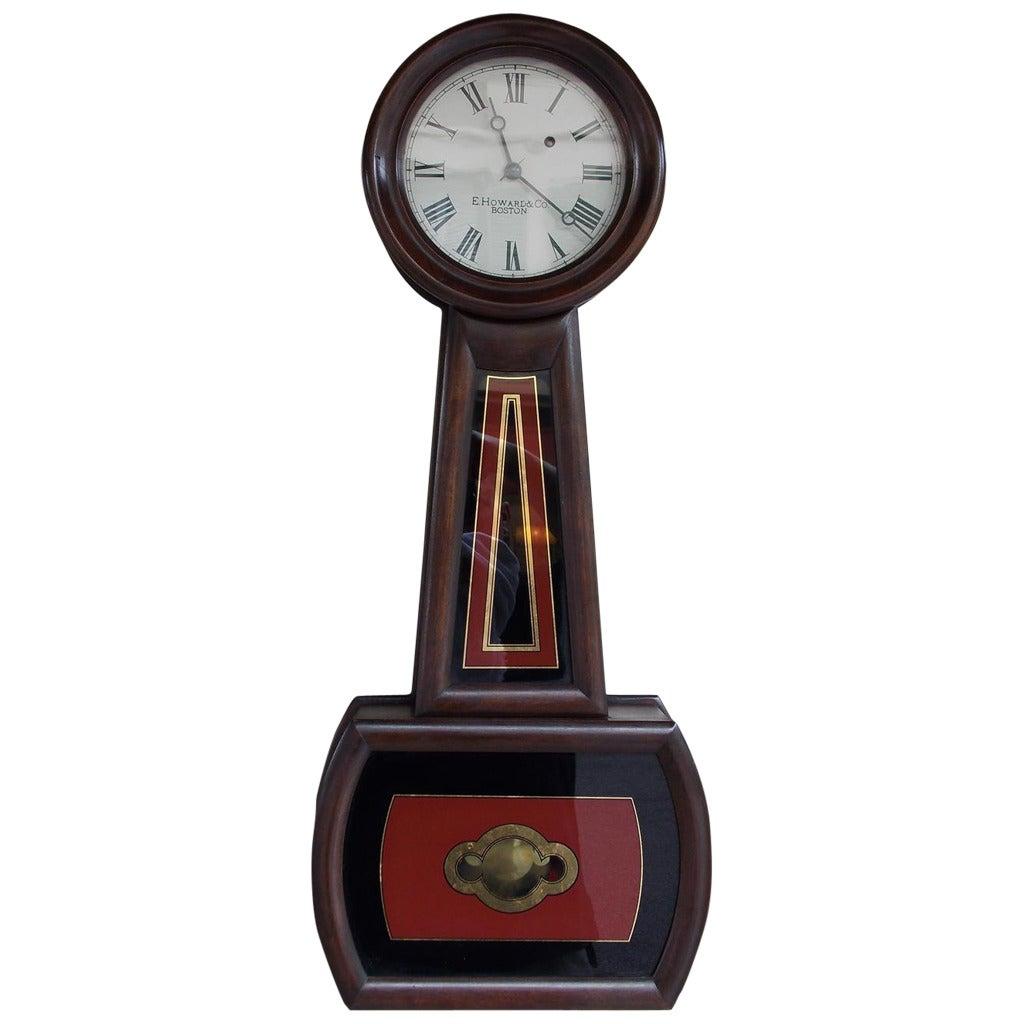 American Mahogany and Églomisé Banjo Clock,  E. Howard, Boston, Circa 1860 For Sale