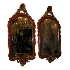 Pair of Venetian Painted & Gilt Floral Crest Girandole Mirrors. Circa 1780