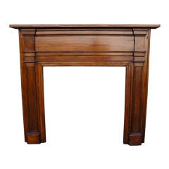 American White Pine Carved Molded Edge Fire Place Mantel,  Circa 1800