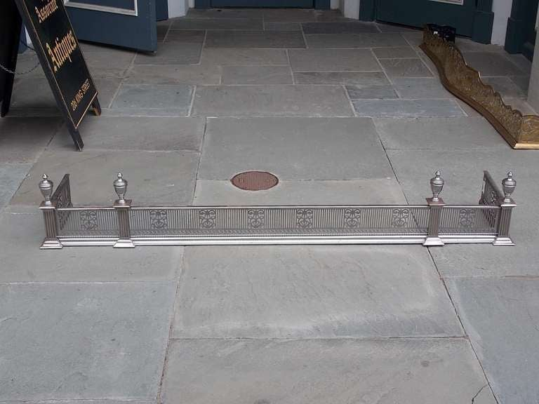British English Polished Steel and Nickel Silver Fire Fender For Sale