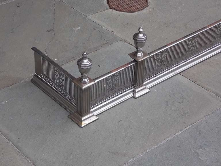 English Polished Steel and Nickel Silver Fire Fender In Excellent Condition For Sale In Charleston, SC