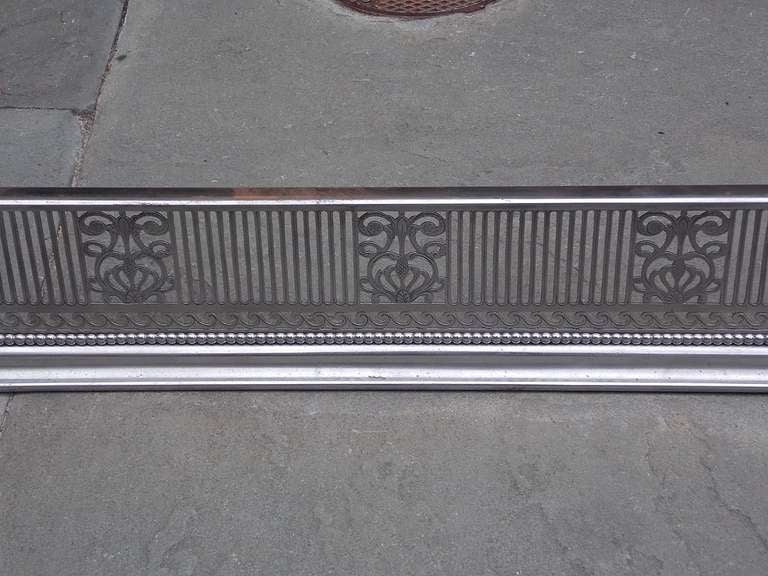 18th Century and Earlier English Polished Steel and Nickel Silver Fire Fender For Sale
