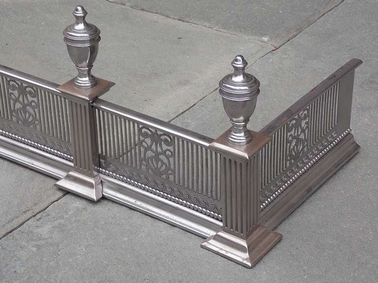 English Polished Steel and Nickel Silver Fire Fender For Sale 1