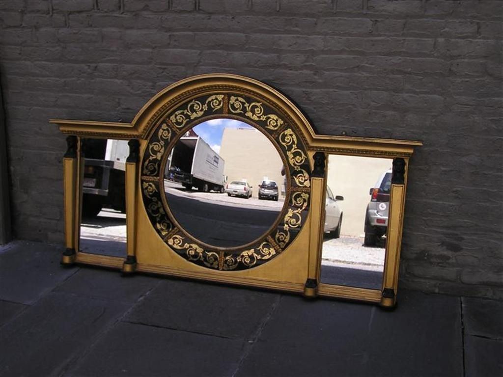 English eglomise and figural gilt convex over mantel for Mantel mirrors