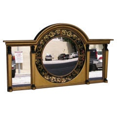 English Eglomise & Figural Gilt Convex Over Mantel Mirror. Signed J.C. Circa 18