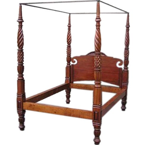 barbados mahogany four poster sunburst tester bed circa. Black Bedroom Furniture Sets. Home Design Ideas