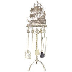 American Brass Nautical Fire Tool Set on Stand