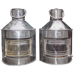 Pair of English Polished Steel Ship Lanterns by  Meteorite, Circa 1900