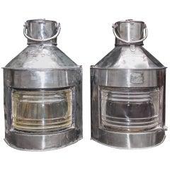 Pair of English Polished Steel Ship Lanterns by  Meteorite, Circa 1900
