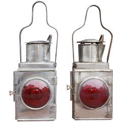 Pair of American Polished Steel Railroad Signal Lanterns, Late 19th Century