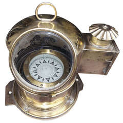 Brass Italian Yacht Binnacle by M. Salimieri of Genoa, 19th Century