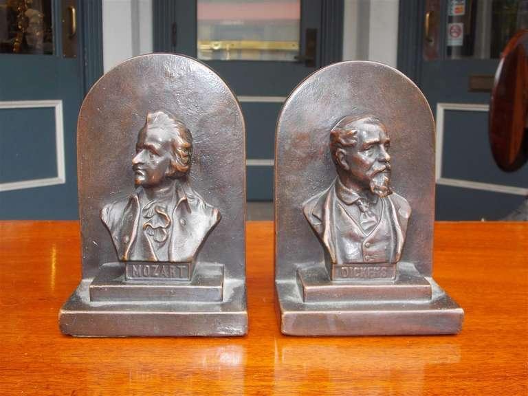 "Pair of American Bronze Bookends "" Mozart & Dickens,"" Circa 1880 2"