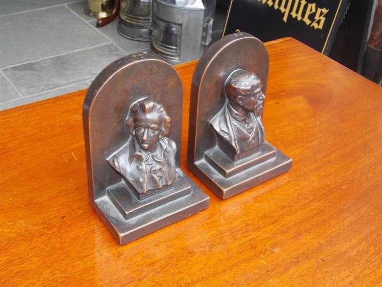 "Pair of American Bronze Bookends "" Mozart & Dickens,"" Circa 1880 3"