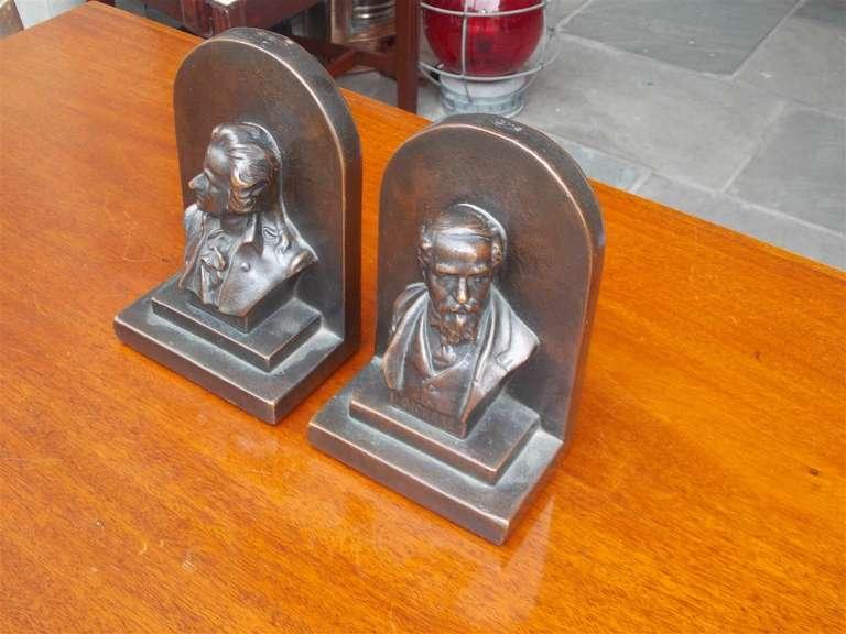 "Pair of American Bronze Bookends "" Mozart & Dickens,"" Circa 1880 4"