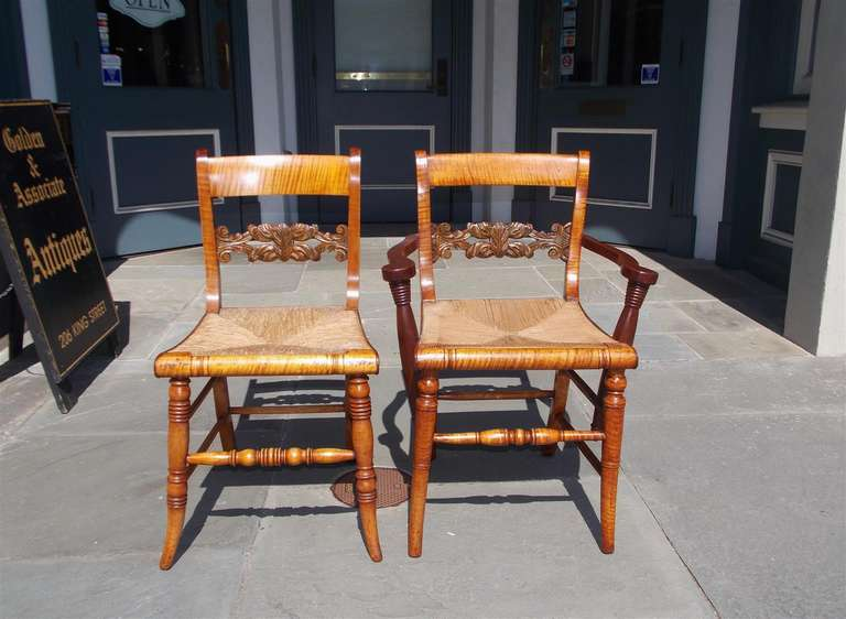 Set Of Eight American Tiger Maple And Walnut Fancy Chairs Circa Dining Room