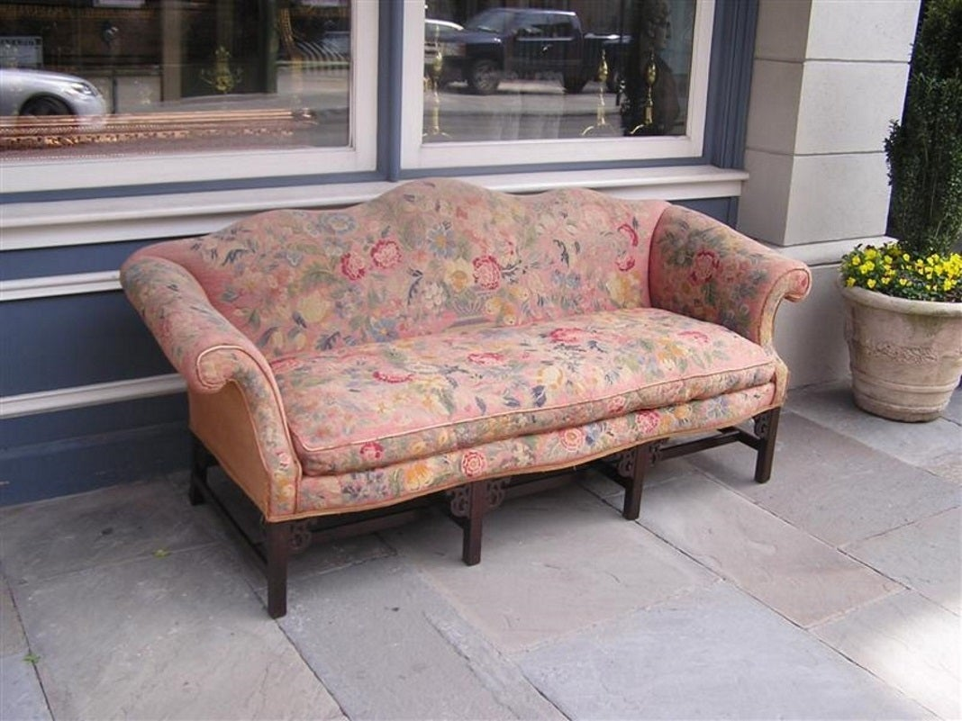English Chinese Chippendale Mahogany Needlepoint Sofa, Circa 1750 2