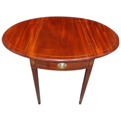 American Hepplewhite Mahogany and Satinwood Pembroke Table, VA, Circa 1790