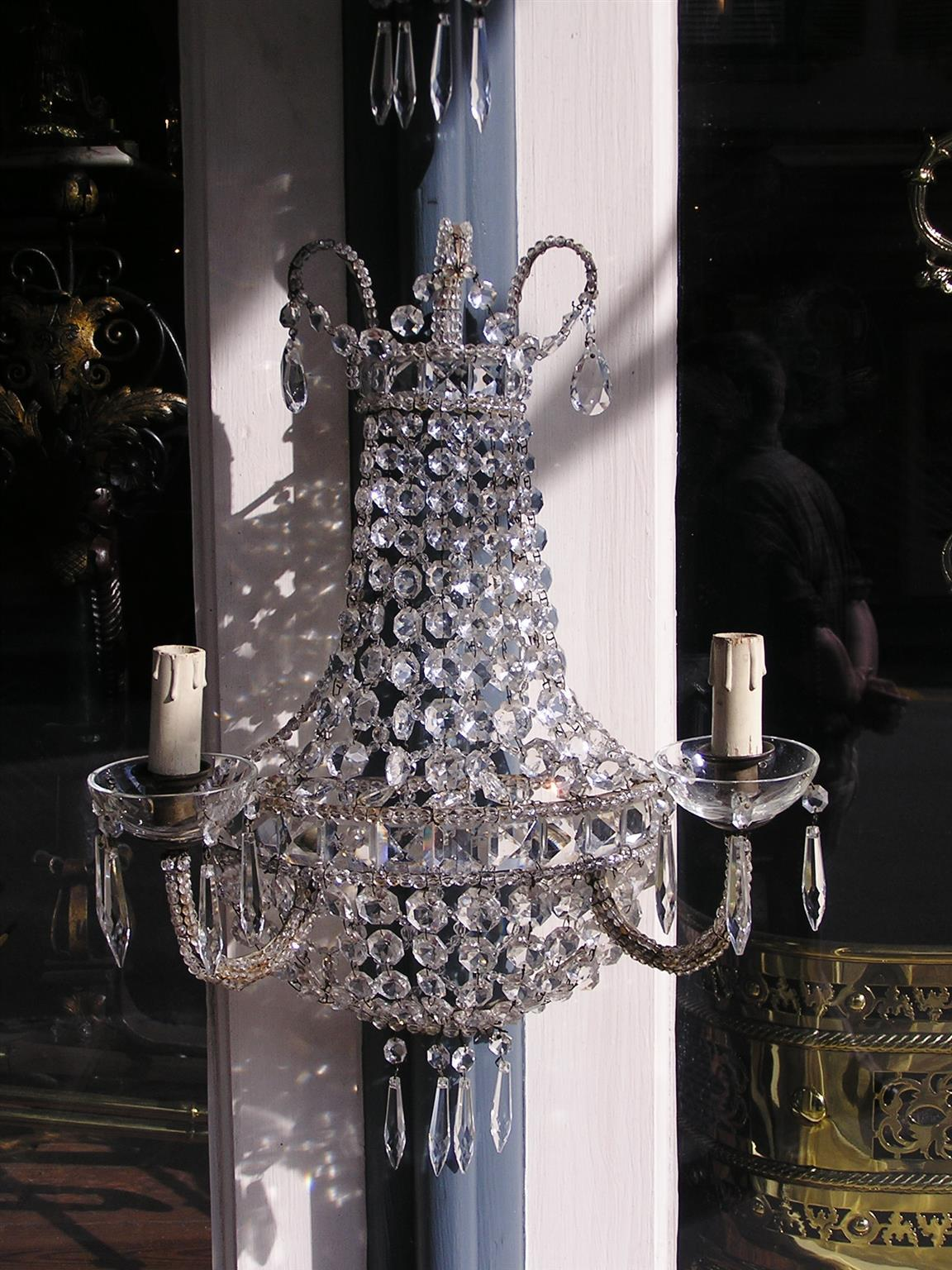 Pair of French Bronze and Crystal Wall Sconces, Circa 1840 3