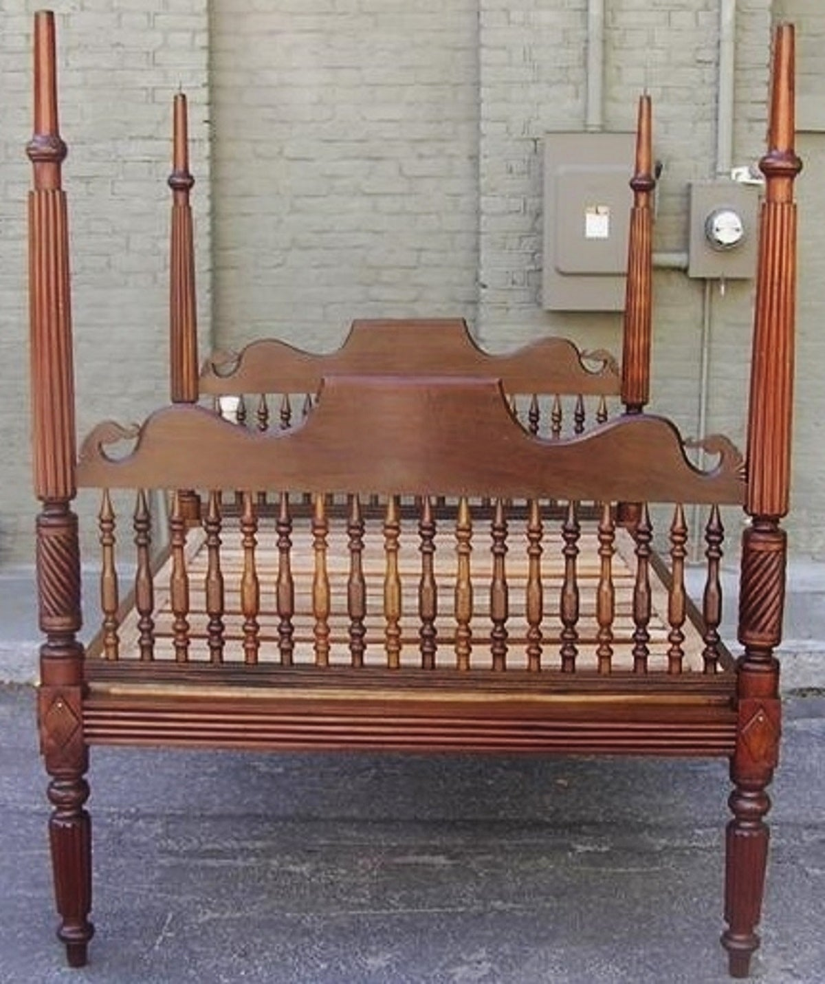 Four Poster Bed Caribbean Mahogany Reeded And Barley Twist Four Poster Bed Circa