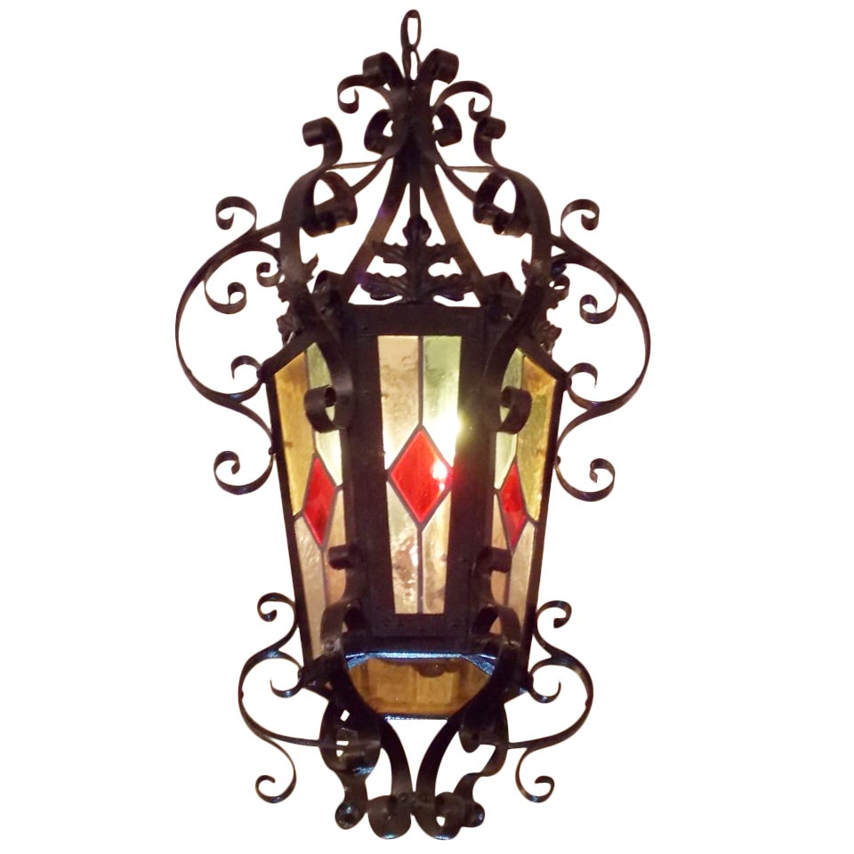 American Wrought Iron Hanging Lantern.