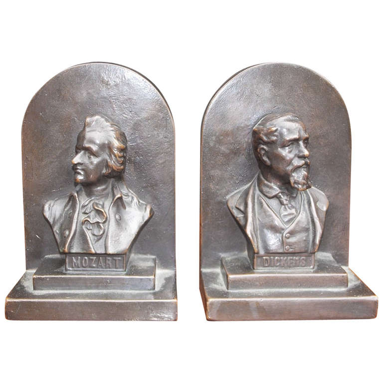 "Pair of American Bronze Bookends "" Mozart & Dickens,"" Circa 1880 1"