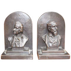 "Pair of American Bronze Bookends "" Mozart & Dickens,"" Circa 1880"