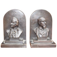 "Pair of American Bronze Bookends "" Mozart & Dickens,"" Circa 1880"