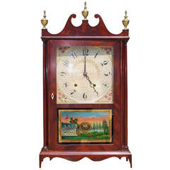 American Mahogany Pillar and Scroll Mantel Clock by  Eli Terry, Circa 1820