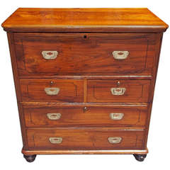 English Camphor Wood Campaign Chest / Desk, Circa 1780
