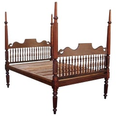 Caribbean Mahogany Reeded and Barley Twist Four Poster Bed, Circa 1820