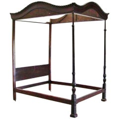 English Mahogany Four-Poster Gadrooned Tester Bed with Marlboro Feet, Circa 1760
