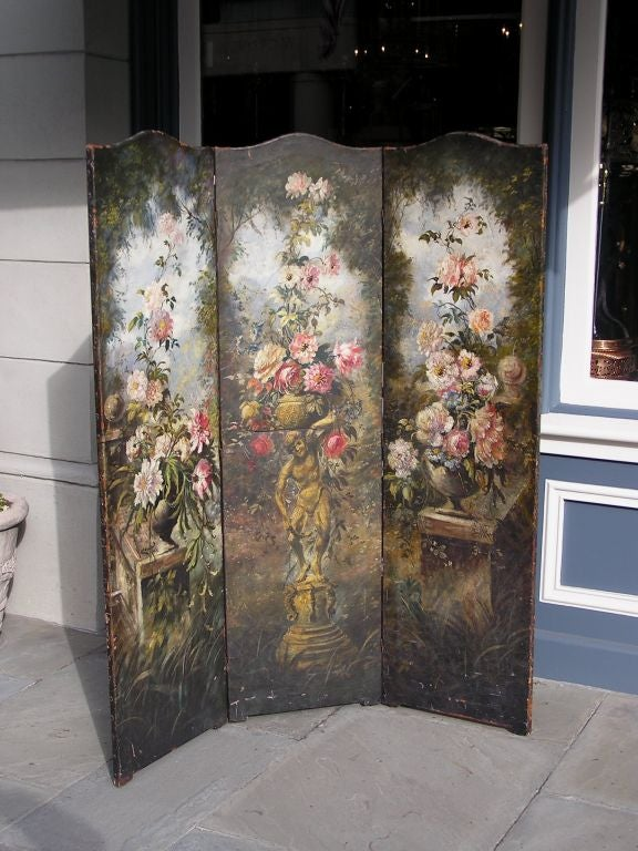 American three panel hand painted leather screen with floral urns on squared plinths & figural statue motif. Late 19th Century . Signed by maker G. Lasslow, New York. Each panel is 20.25 Wide.
