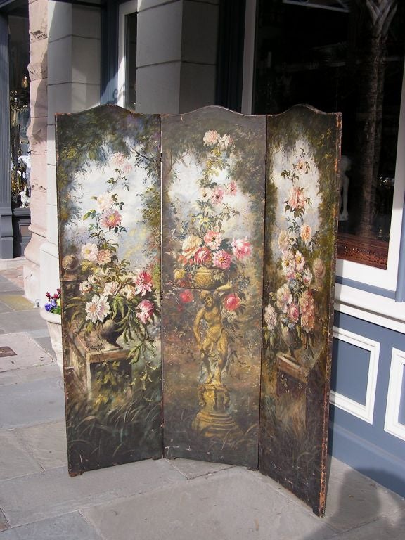 American Empire American Hand Painted Three Panel Floral Leather Screen , Signed N.Y.  Circa 187 For Sale