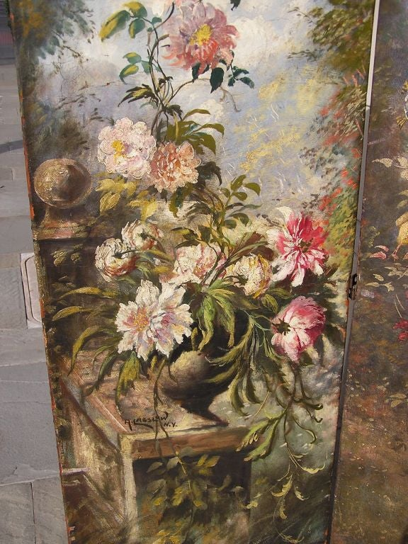 Hand-Crafted American Hand Painted Three Panel Floral Leather Screen , Signed N.Y.  Circa 187 For Sale