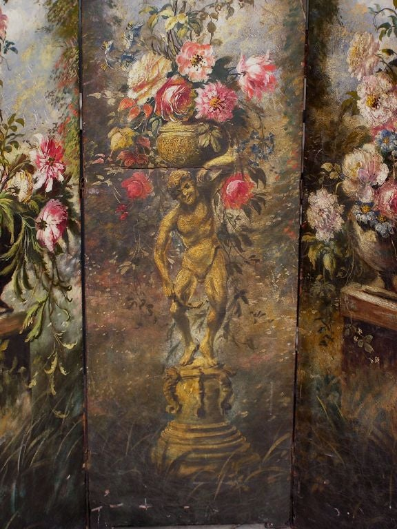 American Hand Painted Three Panel Floral Leather Screen , Signed N.Y.  Circa 187 In Excellent Condition For Sale In Charleston, SC