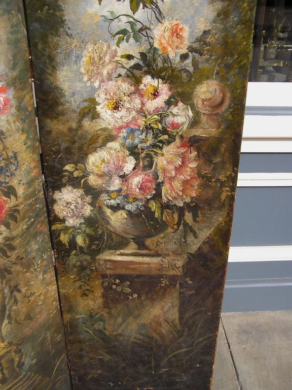 Late 19th Century American Hand Painted Three Panel Floral Leather Screen , Signed N.Y.  Circa 187 For Sale