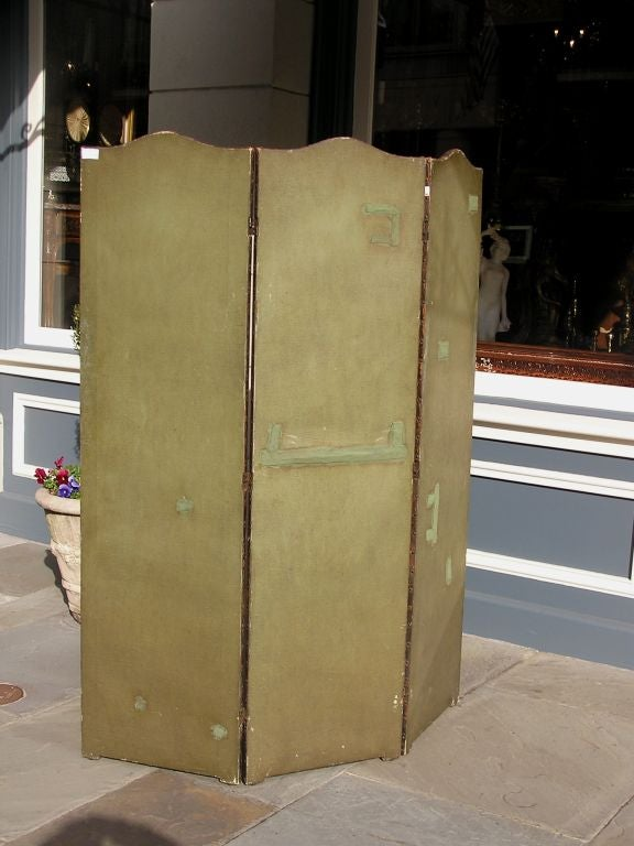 American Hand Painted Three Panel Floral Leather Screen , Signed N.Y.  Circa 187 For Sale 3