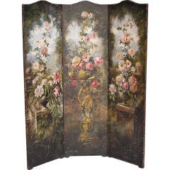 American Hand Painted Three Panel Floral Leather Screen , Signed N.Y.  Circa 187