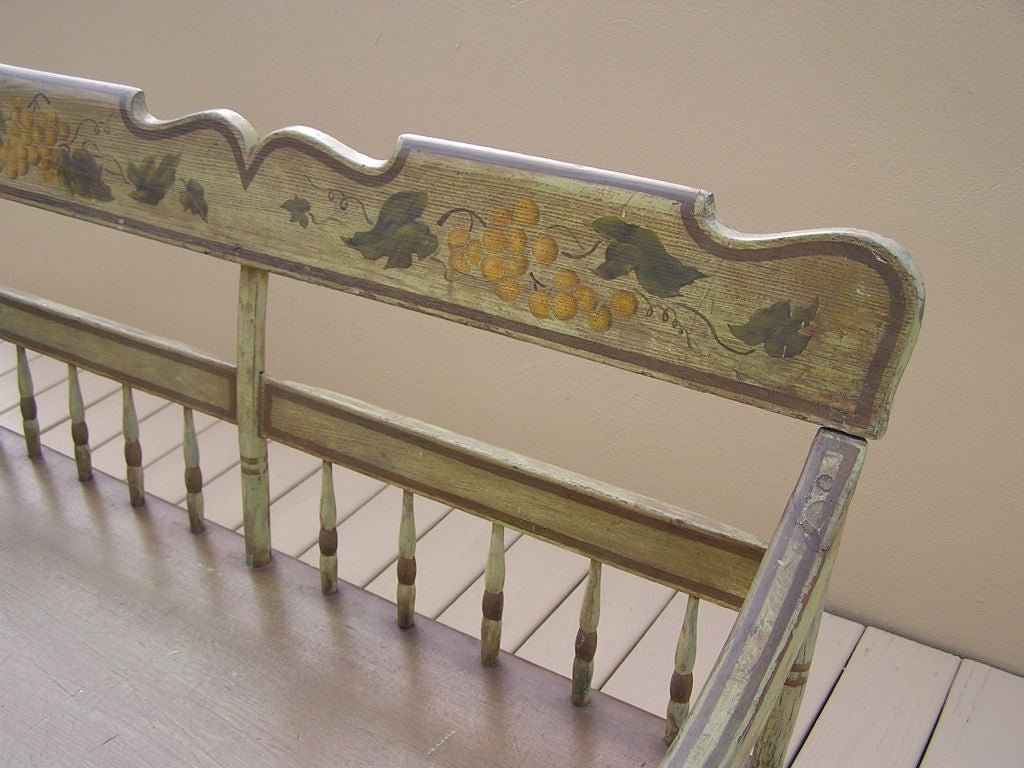 American Fancy Painted Grape Vine Spindle Bench . Baltimore , Circa 1820 For Sale 4