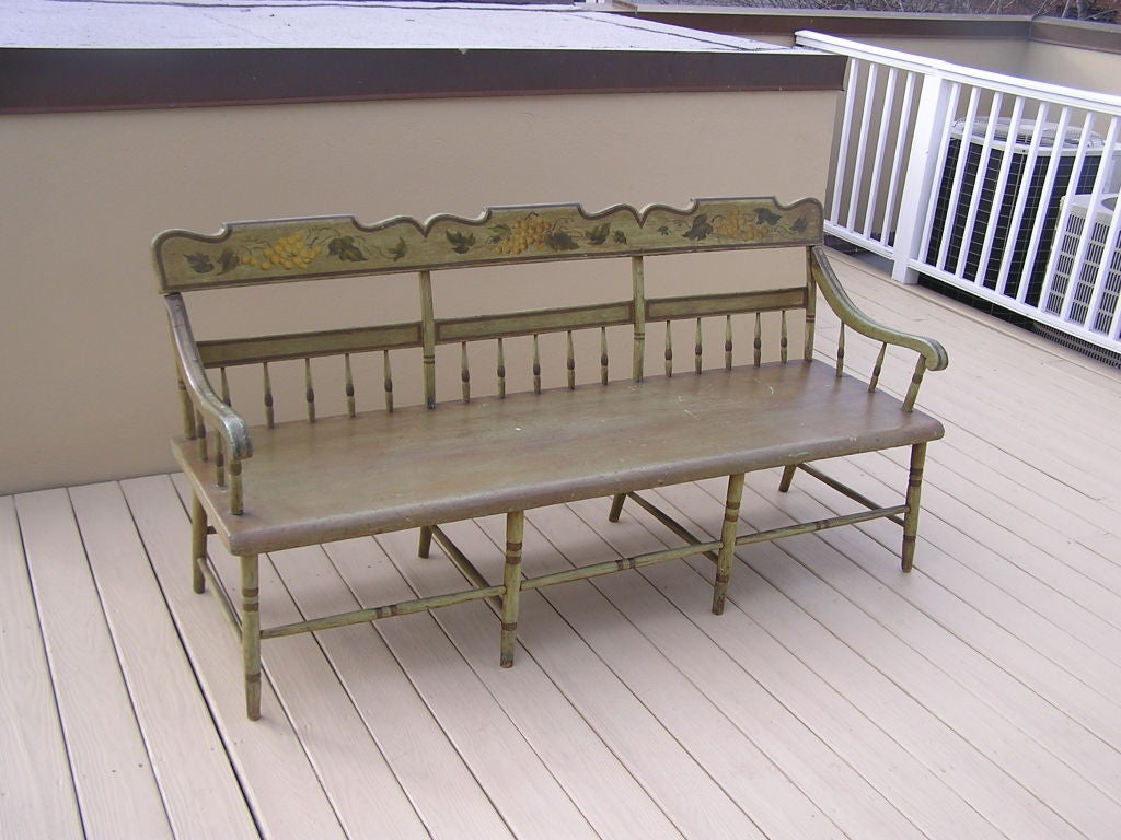 American Colonial American Fancy Painted Grape Vine Spindle Bench . Baltimore , Circa 1820 For Sale