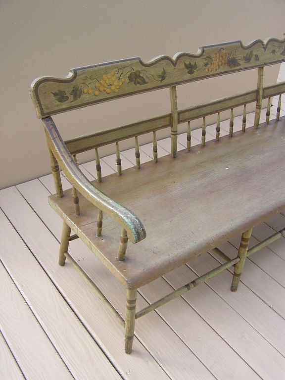 Hand-Carved American Fancy Painted Grape Vine Spindle Bench . Baltimore , Circa 1820 For Sale