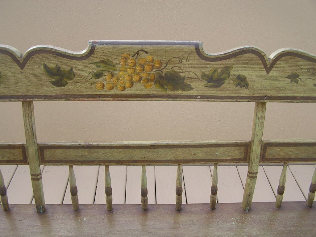 Early 19th Century American Fancy Painted Grape Vine Spindle Bench . Baltimore , Circa 1820 For Sale
