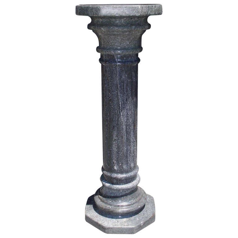 Italian gray marble fluted pedestal circa 1870 at 1stdibs for Fluted pedestal base