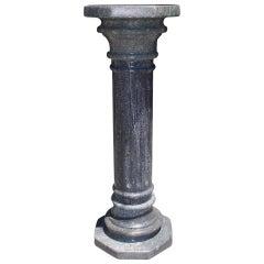 Italian Gray Marble Fluted Pedestal, Circa 1870