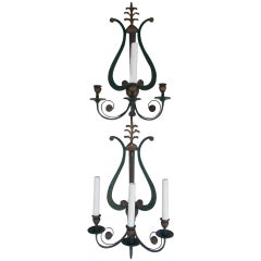 Pair of American  Lyre Back Sconces, Sterling Bronze Co NY
