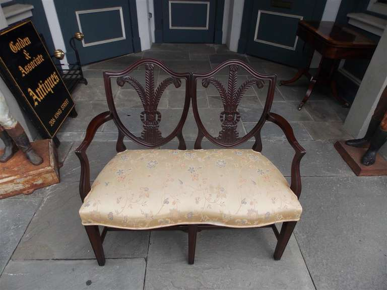 18th Century and Earlier English Chippendale Mahogany Shield Back Settee, Circa 1790 For Sale