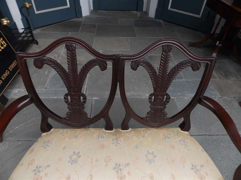 English Chippendale Mahogany Shield Back Settee, Circa 1790 For Sale 1