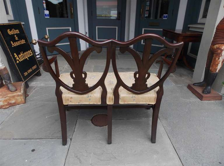 English Chippendale Mahogany Shield Back Settee, Circa 1790 For Sale 4