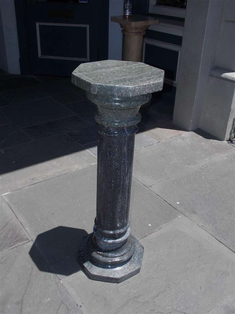 Italian gray marble fluted pedestal circa 1870 for sale for Fluted pedestal base